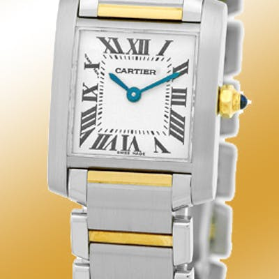 """Lady's Stainless Steel and 18K Yellow Gold Cartier """"Tank Francaise"""""""