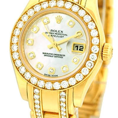 "Certified Pre-Owned Lady's 18K Yellow Gold Rolex ""Diamond..."
