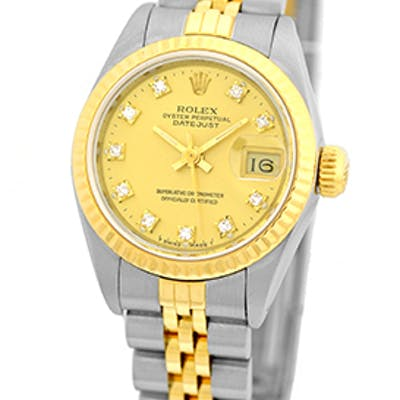 """Certified Pre-Owned Lady's Stainless Steel & 18K Yellow Gold Rolex """"DateJust"""""""