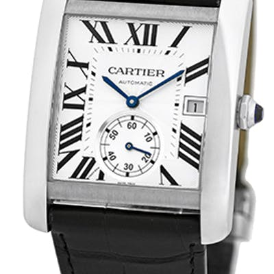 "Gent's Stainless Steel Cartier ""Tank MC"" Automatic Strapwatch"