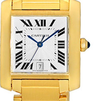 """Gent's 18K Yellow Gold Cartier """"Tank Francaise"""" Automatic"""