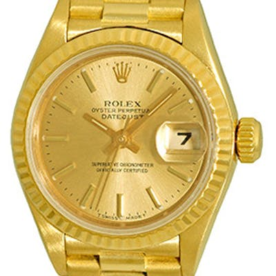 """Certified Pre-Owned Lady's 18K Yellow Gold Rolex Datejust """"President"""""""