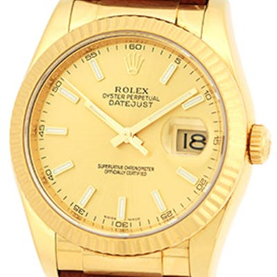 "New Style Gent's 18K Yellow Gold Rolex ""Datejust"" Automatic Strapwatch"