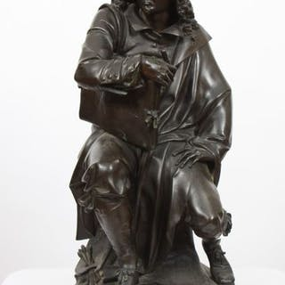 """BRONZE """"REMBRANDT ASSIS"""" DE AUGUSTE- JOSEPH CARRIER En bronze patiné"""