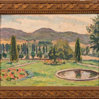 Alexis MACEDONSKI (1884-1971) Parc en Provence. Huile sur panneau.