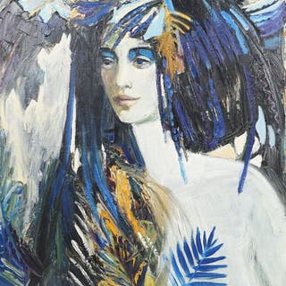 """""""Flower"""" de Suvorova Huile sur toile signé CM et Daté 2002 en bas"""