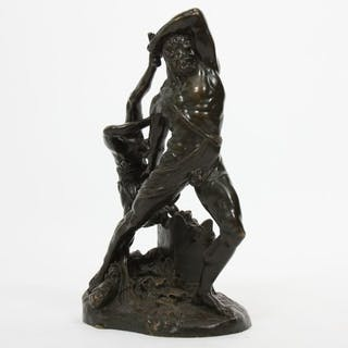 "Bronze ""COMBAT D'HERCULE"" Bronze à patine verte, représentant Hercule"