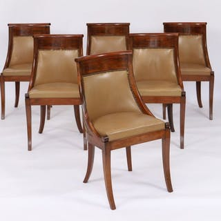 Ensemble de 6 chaises Gondoles En acajou et placage d'acajou. Dossier