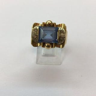 Bague Art déco En Or jaune 18k 7,30 Grams