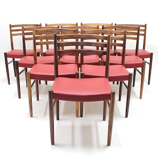 Rosewood & Leather Chairs by Nils Jonsson for Troeds, 1960s, Set of 10