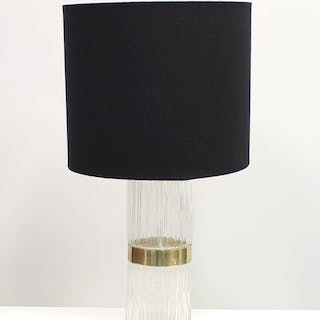 Swedish Brass and Pressed Glass Table Lamp, 1960s