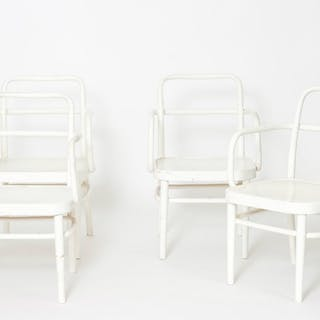 Rare set of Austrian A 64 F White Bentwood Chairs by Adolf Schneck