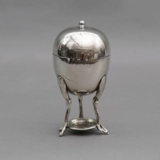 The Groom Albert - Silver Egg Coddler with Long Chicken Legs