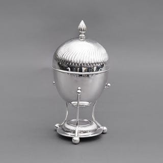 The Groom Lance - Silver Egg Coddler with Rippled Lid