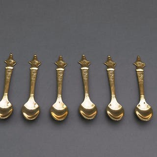 The Headhunter Anton - Set of 6 Vintage Gold Plated Mocha Spoons with