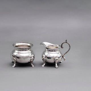 Master Carolyn - Ornate Footed Silver Plate Sugar and Cream Set