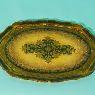 The Tattooist Tyler - Large Oval Gold And Green Papier Mache Platter