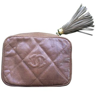 3ff43c5ffa21 Vintage CHANEL cocoa brown lizard camera bag type clutch bag with