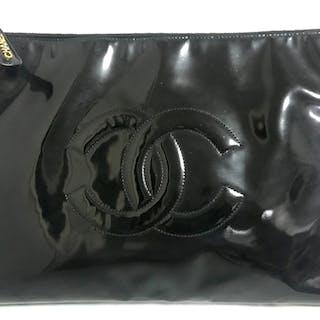 69cdffc47f67b Vintage CHANEL classic black patent enamel document bag