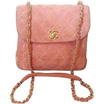 Vintage CHANEL light pink quilted suede 2.55 shoulder bag with gold