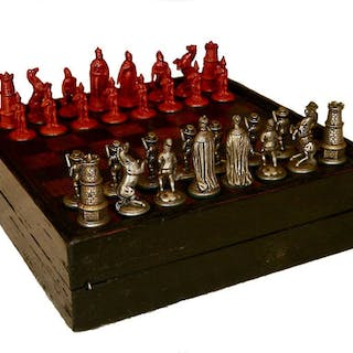 Rare Dresden Chess Set & Board, 18th century