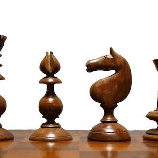 Antique Irish Yew Chess Set & Board