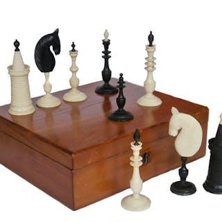 Antique Danish Bone Chess Set, circa 1800