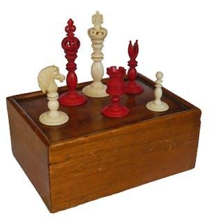 Signed Antique Calvert Chess Set, circa 1830-40