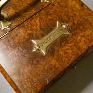 English Burr Walnut Cigar Box, circa 1890