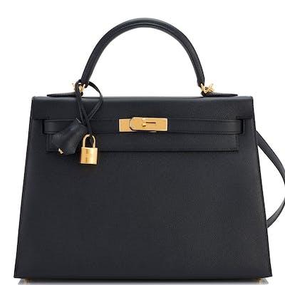 Hermes Black 32cm Epsom Sellier Kelly Gold Hardware