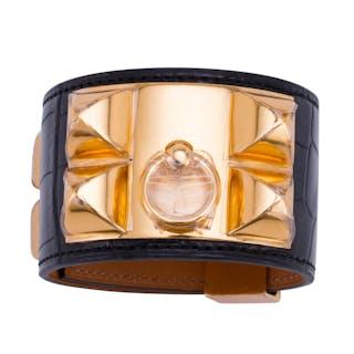 2397cb654b05 Hermes Matte Black Crocodile Collier de Chien CDC Bracelet