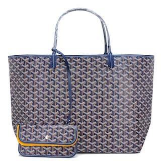 6ca8f14a3c2c Goyard Bleu Marine Navy Blue St Louis GM Chevron Tote Bag