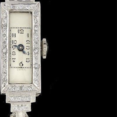 Art Deco Platinum/Rolled Gold Plate & Diamond Step Watch