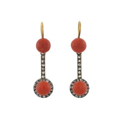 Victorian 15kt/Sterling Natural Coral + Rose Cut Diamond Earrings