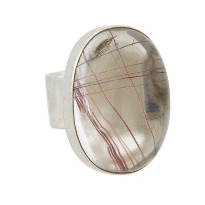 Vintage Large Sterling Silver Rutilated Quartz Ring