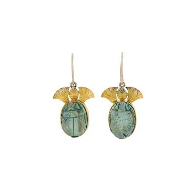 Victorian 9kt Egyptian Revival Faience Scarab Beetle Earrings