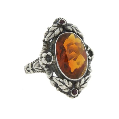 Victorian Large Sterling Madeira Citrine + Garnet Flower Motif Ring