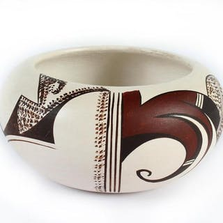 Native American, Vintage Hopi Poly Chrome Pottery Bowl, by Marianne