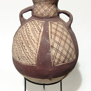Pre-Columbian Vividly Painted Chancay Pottery Bottle, c. AD 900-1500. #826