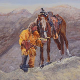 """Traditional Western Art, """"Partners"""", by Linda Gulinson, #1352"""