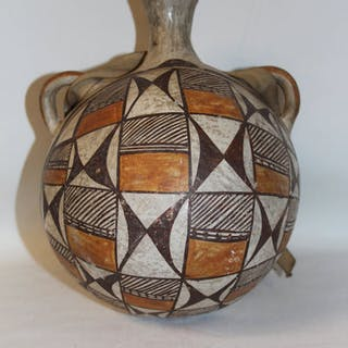 Antique Pottery : Antique Acoma Polychrome Pottery Canteen #17