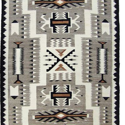 Navajo Rug : Fantastiic Finely Woven Earth Tone Navajo Storm Pattern Rug #293