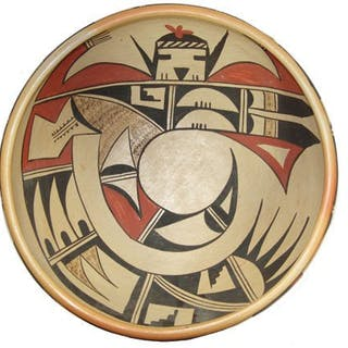 Large Pottery : Native American Poly chrome Hopi Pottery Bowl by Laura