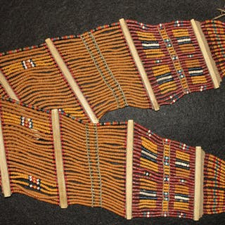 India Clothing : Vintage Konyak Mustard Fine Wide Beaded Belt from
