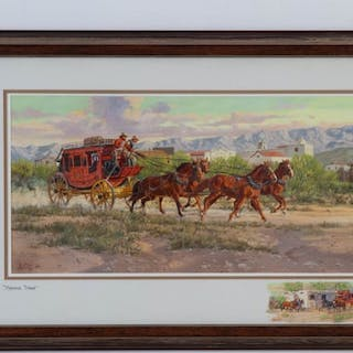"""Western Artist, Ron Stewart, """"Morning Stage"""" Water Color Painting, #760"""
