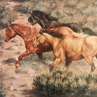 Western Oil Painting By L. Karren-Brakke, Ca 1970's, #C1484