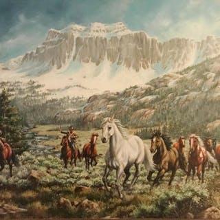Western Oil Painting, by L. Karren-Brakke of running horses and Cowboys.