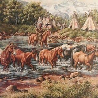 Western Oil Painting, by L. Karren-Brakke of Running Horses Crossing