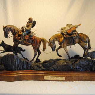"""Bronze sculpture, """" Lady, Friends and Rocky Trails"""" LE 75, by James"""