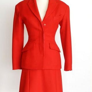 Azzedine Alaia Skirt Suit Striking Lipstick Red Vintage 38 fits 4 to 6